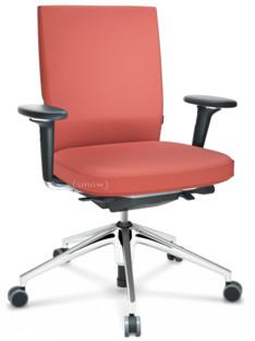 ID Soft FlowMotion-ohne Vorwärtsneigung, ohne Sitztiefenverstellung|Mit 3D-Armlehnen|5-Stern Untergestell, Aluminium poliert|Basic dark|Sitz und Rücken Silk Mesh|Backstein