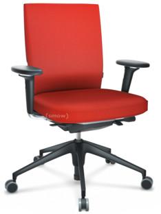 ID Soft FlowMotion-mit Vorwärtsneigung, mit Sitztiefenverstellung|Mit 3D-Armlehnen|5-Stern Untergestell, Kunststoff basic dark|Basic dark|Sitz und Rücken Plano|Poppy red