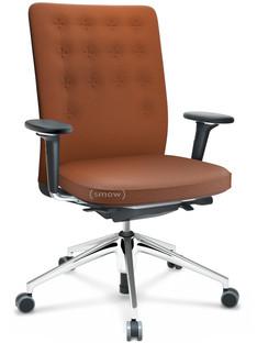 ID Trim Ohne Lumbalstütze|FlowMotion-mit Vorwärtsneigung, mit Sitztiefenverstellung|Mit 3D-Armlehnen|5-Stern Untergestell, Aluminium poliert|Sitz und Rücken Plano|Cognac