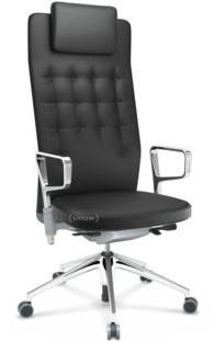 ID Trim L FlowMotion mit Sitztiefenverstellung|Mit Ringarmlehnen (höhenverstellbar)|Soft grey|Leder asphalt