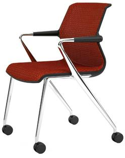 Unix Chair Vierbeinfuß mit Rollen Diamond Mesh backstein|Basic dark|Aluminium poliert
