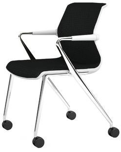 Unix Chair Vierbeinfuß mit Rollen Diamond Mesh nero Soft grey Aluminium poliert