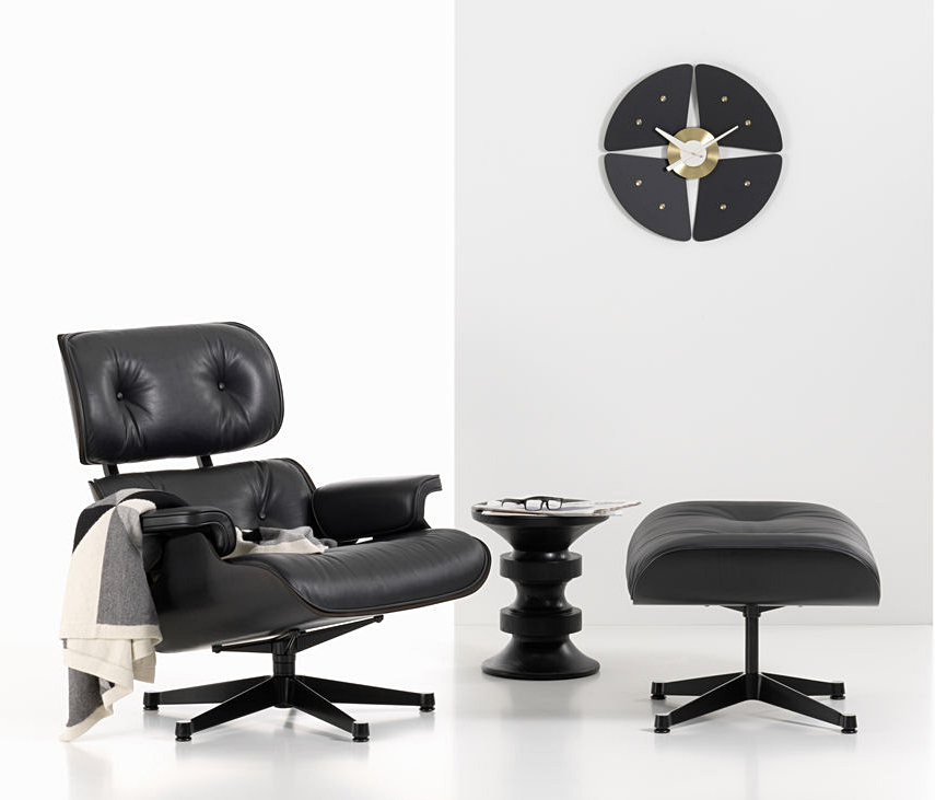 vitra lounge chair ottoman black version von charles. Black Bedroom Furniture Sets. Home Design Ideas