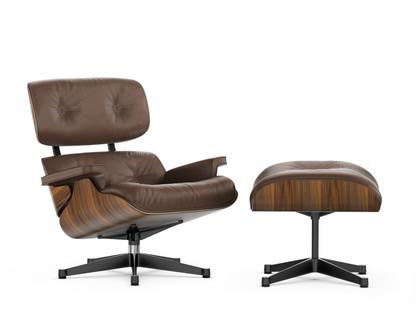 Lounge Chair & Ottoman - Beauty Versions Nussbaum schwarz pigmentiert|Kastanie|89 cm|Aluminium poliert, Seiten schwarz