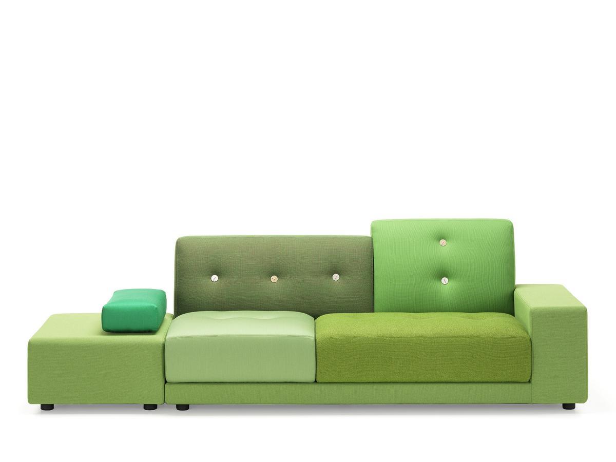 Vitra Polder Sofa, Armlehne rechts, Stoffmix green von Hella ...