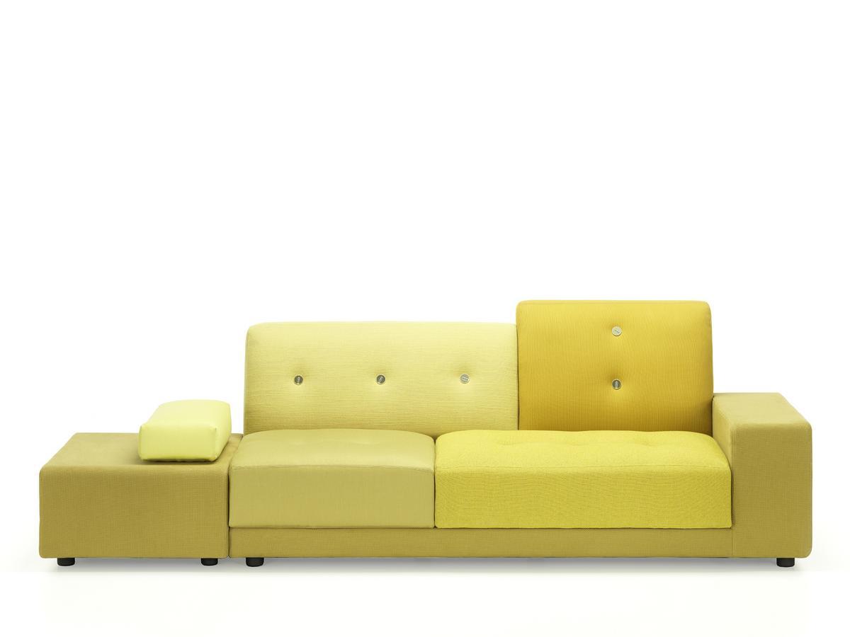 Vitra Polder Sofa, Armlehne rechts, Stoffmix golden yellow von Hella ...