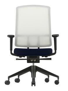 AM Chair Weiß|Dunkelblau/braun|Mit 2D Armlehnen|Kunststofffuß tiefschwarz