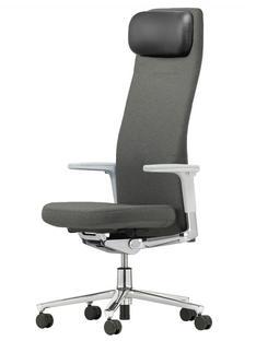 Pacific Chair Hoch mit Kopfstütze Sierragrau Höhenverstellbare Armlehnen (Kunststoff) Hell Aluminium poliert