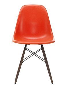 Eames Fiberglass Chair DSW Eames red orange|Ahorn dunkel