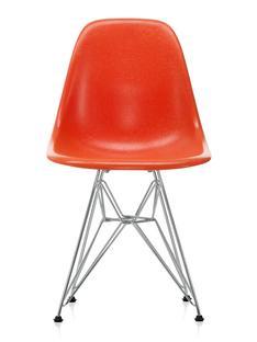Eames Fiberglass Chair DSR Eames red orange|Glanzchrom