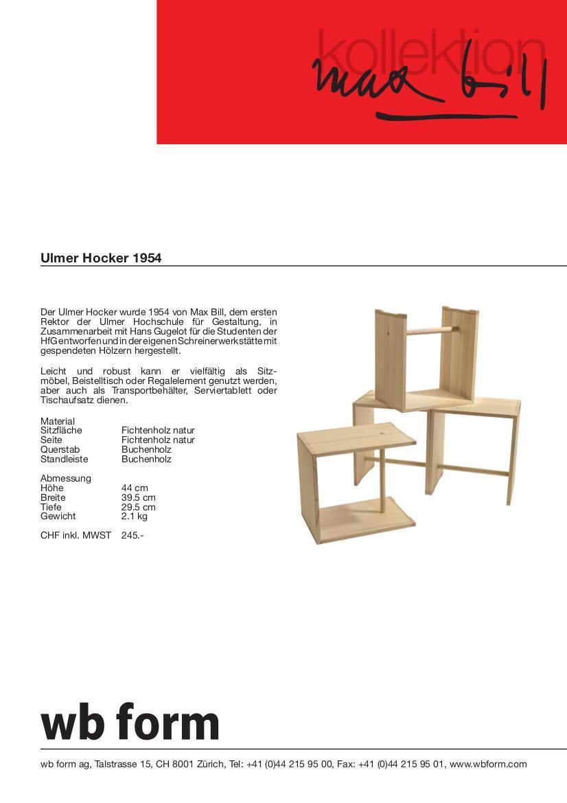 wb form ulmer hocker von max bill 1954 designerm bel von. Black Bedroom Furniture Sets. Home Design Ideas