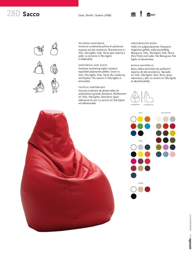 zanotta beanbag chair sacco by piero gatti cesare paolini. Black Bedroom Furniture Sets. Home Design Ideas